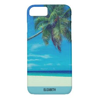 Coque iPhone 8/7 Plage blanche de Sandy avec les palmiers tropicaux
