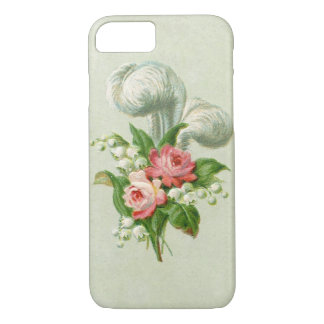Coque iPhone 8/7 Plume vintage et roses