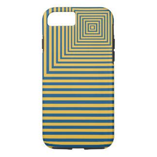 Coque iPhone 8/7 Point focal de méditation d'hypnose bleu et jaune