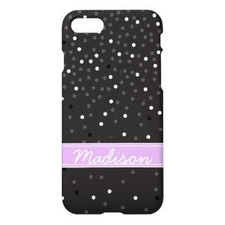 Coque iPhone 8/7 Pois noir et blanc de confettis de scintillement