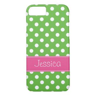 Coque iPhone 8/7 Pois vert et rose de très bon goût personnalisé