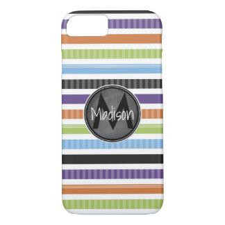 Coque iPhone 8/7 Rayures colorées lumineuses avec le cadre de