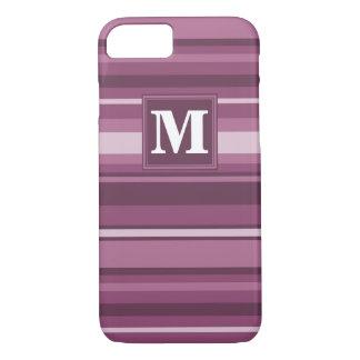 Coque iPhone 8/7 Rayures de mauve de monogramme