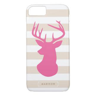 Coque iPhone 8/7 Rayures de toile de tête rose chique de cerfs