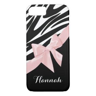 Coque iPhone 8/7 Rayures de zèbre et arc rose avec le nom