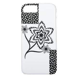 Coque iPhone 8/7 Rectangles et fleurs en noir et blanc