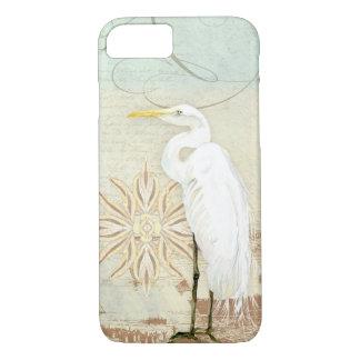 Coque iPhone 8/7 Rivage côtier héron nautique d'art d'oiseaux de