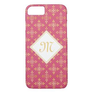 Coque iPhone 8/7 Rose de luxe et or Quatre de monogramme floral