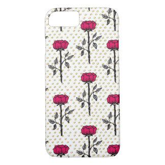 Coque iPhone 8/7 Roses et motif de points tirés par la main