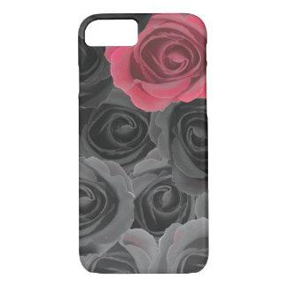 Coque iPhone 8/7 Roses gris d'Ombre avec l'accent rose