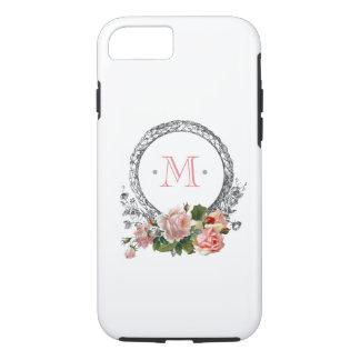Coque iPhone 8/7 Roses vintages et monogramme gravé de cadre