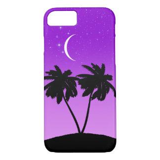 Coque iPhone 8/7 Silhouette de palmier sur le pourpre crépusculaire