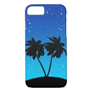 Coque iPhone 8/7 Silhouette de palmier sur même le bleu avec des