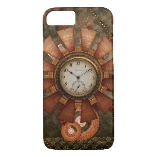 Coque iPhone 8/7 Steampunk, conception noble avec des horloges et