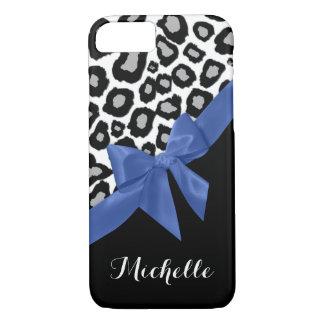 Coque iPhone 8/7 Taches de léopard et arc bleu avec le nom