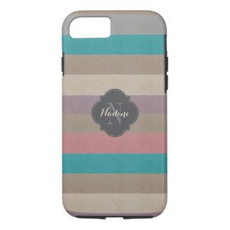 Coque iPhone 8/7 Turquoise de monogramme, brun et violette barrée
