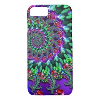 Coque iPhone 8/7 Turquoise de pourpre de fractale de Bokeh