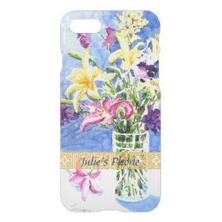 Coque iPhone 8/7 Vase en verre de fleurs exotiques avec votre nom