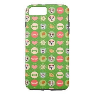 Coque iPhone 8 Plus/7 Plus Amour de chien sur le vert