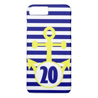 Coque iPhone 8 Plus/7 Plus Ancre jaune avec les rayures horizontales de