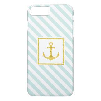 Coque iPhone 8 Plus/7 Plus Ancre nautique élégante de scintillement de Faux