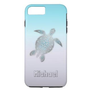 Coque iPhone 8 Plus/7 Plus Animal argenté de monogramme de tortues de mer