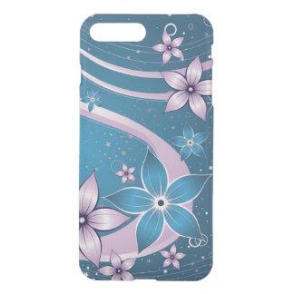 Coque iPhone 8 Plus/7 Plus art bleu rose de remous de vecteur de fleurs