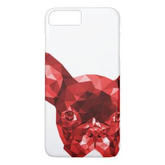 Coque iPhone 8 Plus/7 Plus Bas poly art de bouledogue français en rouge