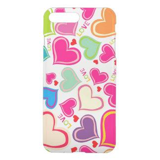 Coque iPhone 8 Plus/7 Plus bel art coloré de vecteur de coeurs d'amour