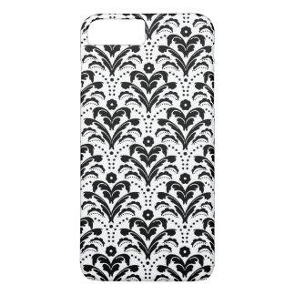 Coque iPhone 8 Plus/7 Plus Blanc moderne de noir de damassé d'aileron de