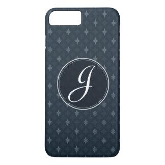 Coque iPhone 8 Plus/7 Plus Bleu marine gris-foncé chic - cas de téléphone de