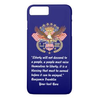 Coque iPhone 8 Plus/7 Plus Bleu marine profond de paix patriotique de liberté