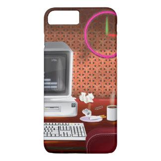 Coque iPhone 8 Plus/7 Plus bureau classique des années 1980 avec l'ordinateur