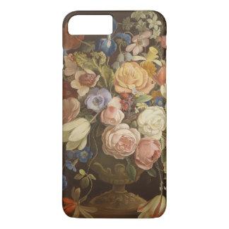 Coque iPhone 8 Plus/7 Plus Caisse rose florale vintage élégante d'art de