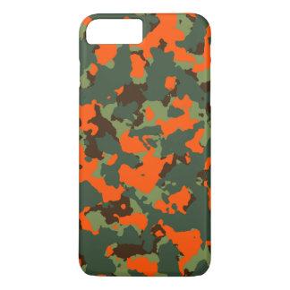 Coque iPhone 8 Plus/7 Plus Camo vert avec l'orange de flamme de sécurité