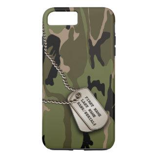 Coque iPhone 8 Plus/7 Plus Camo vert militaire avec l'étiquette de chien