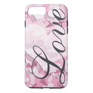 Coque iPhone 8 Plus/7 Plus Camouflage rose d'amour de coeurs votre nom