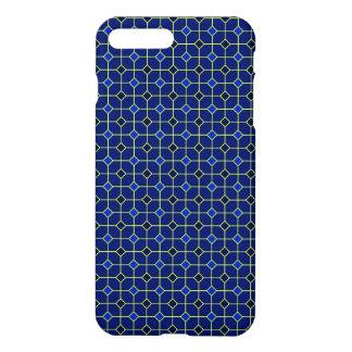 Coque iPhone 8 Plus/7 Plus Cas de conception de tuiles d'antiquité de bleu