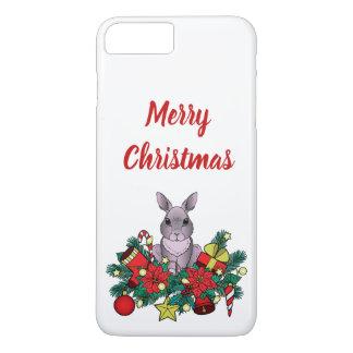 Coque iPhone 8 Plus/7 Plus Cas de Joyeux Noël avec le lapin de Noël
