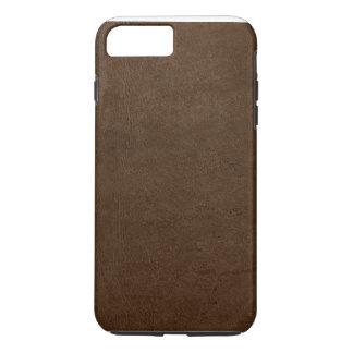 Coque iPhone 8 Plus/7 Plus cas vintage de texture en cuir brune pour le