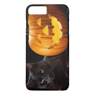 Coque iPhone 8 Plus/7 Plus Citrouille de Halloween et chat noir