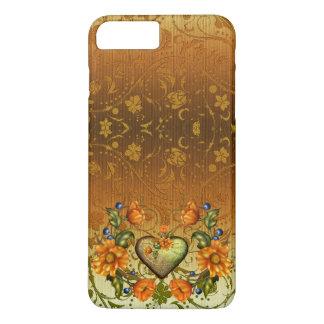 Coque iPhone 8 Plus/7 Plus Coeur et fleurs sur la damassé