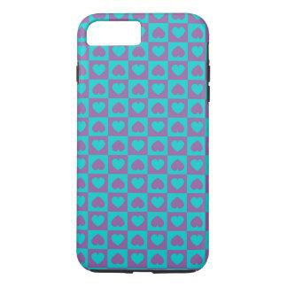 Coque iPhone 8 Plus/7 Plus Coeurs en abondance pourpre et bleu