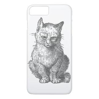 Coque iPhone 8 Plus/7 Plus Conception grincheuse vintage de chat