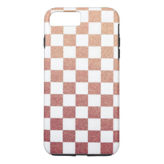Coque iPhone 8 Plus/7 Plus Contrôle métallique rose de guingan