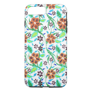 Coque iPhone 8 Plus/7 Plus Couleurs multi de remous faits main et floraux,