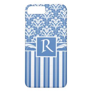Coque iPhone 8 Plus/7 Plus Damassé bleue et blanche d'art déco frais et