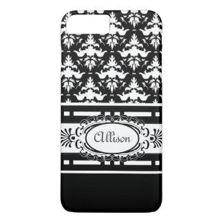 Coque iPhone 8 Plus/7 Plus Damassé noire et blanche de Demoiselle de Paris