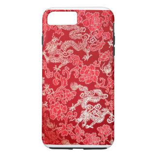 Coque iPhone 8 Plus/7 Plus Dragon impérial chinois asiatique d'or sur la soie