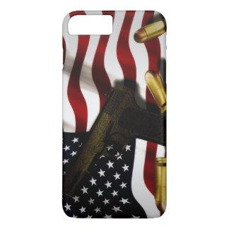 Coque iPhone 8 Plus/7 Plus Drapeau américain avec le pistolet